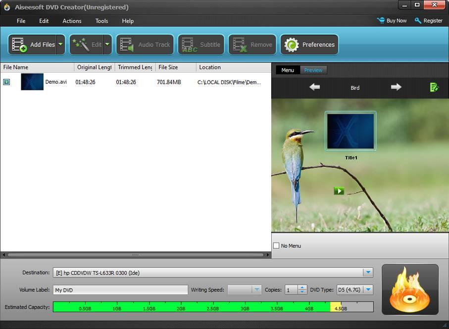 DVD Creator Window
