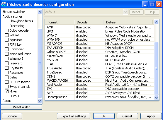 audio decoder configuration