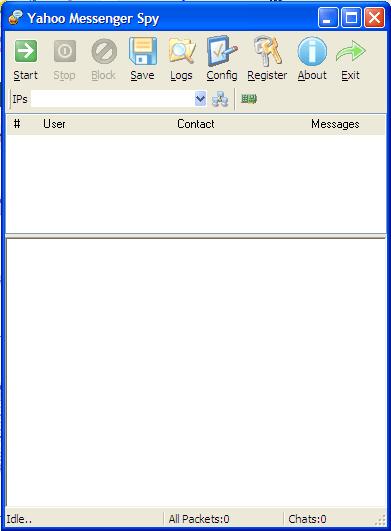 IMMonitor Yahoo messenger Spy Main window