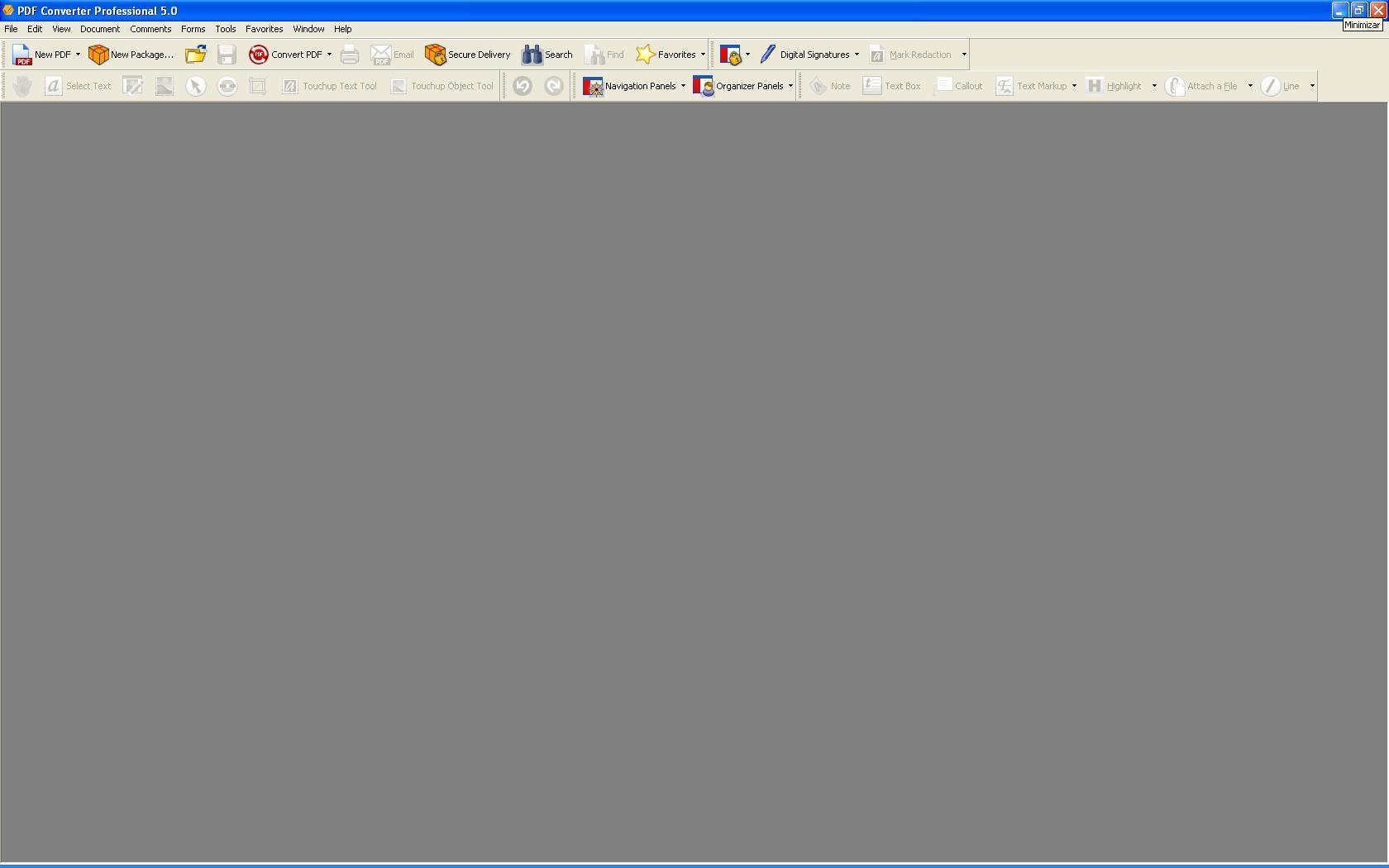 Main Blank Screen