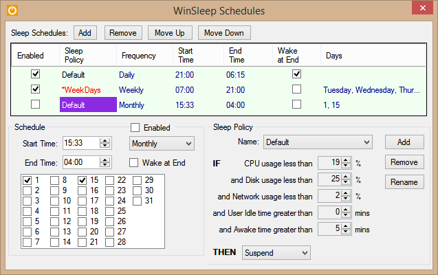 WinSleep Monthly Schedules View