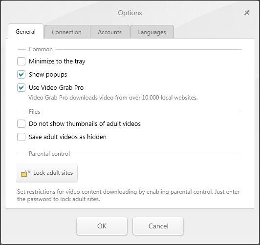 Options Window - General Tab