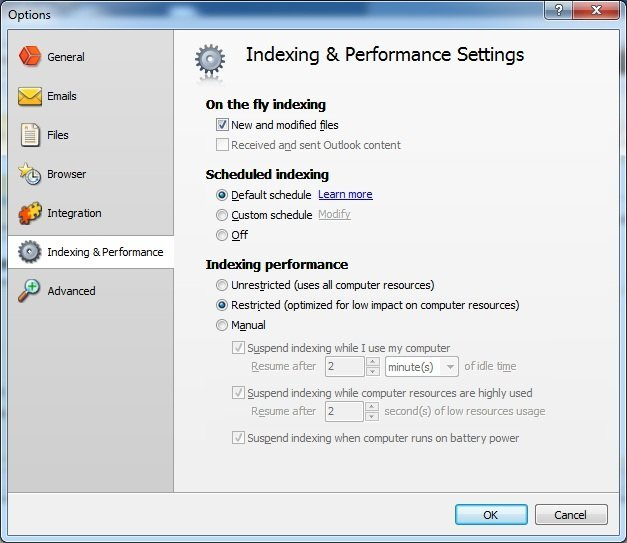 Indexing and Performance Settings