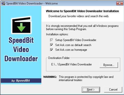 Installing SpeedBit Video downloader