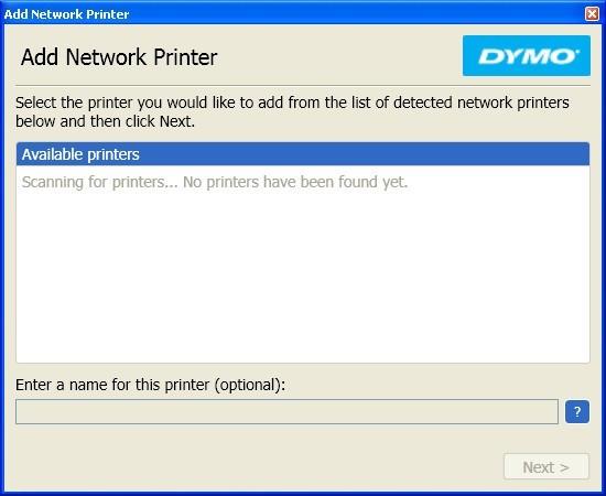 Adding Printer Window