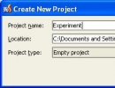 New Project Creation Window