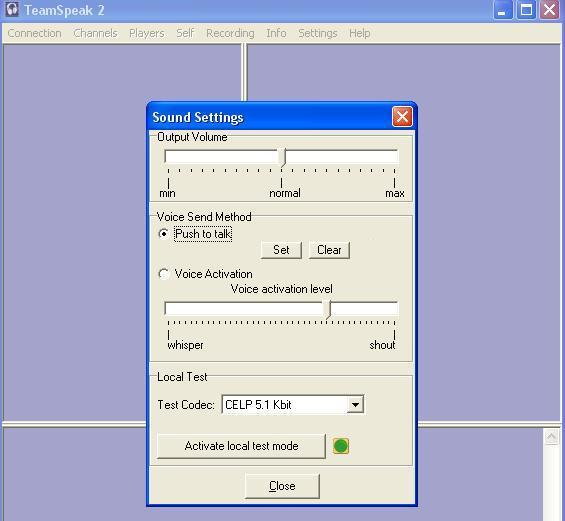 Screenshot of the sound settings