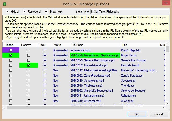 PodSilo Manage Episodes