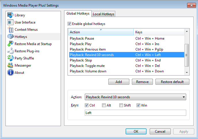 Settings: Global Hotkeys