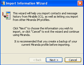 Import information wizard