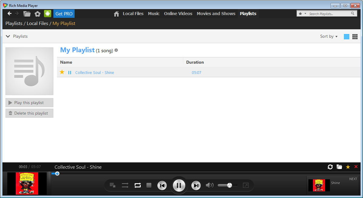 rich media player 1 4 playlists screenshots for rich media player 1 4