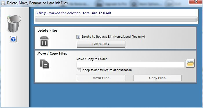 Deleting duplicated files