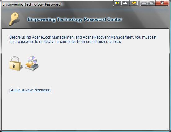 Acer eLock Management Password Center