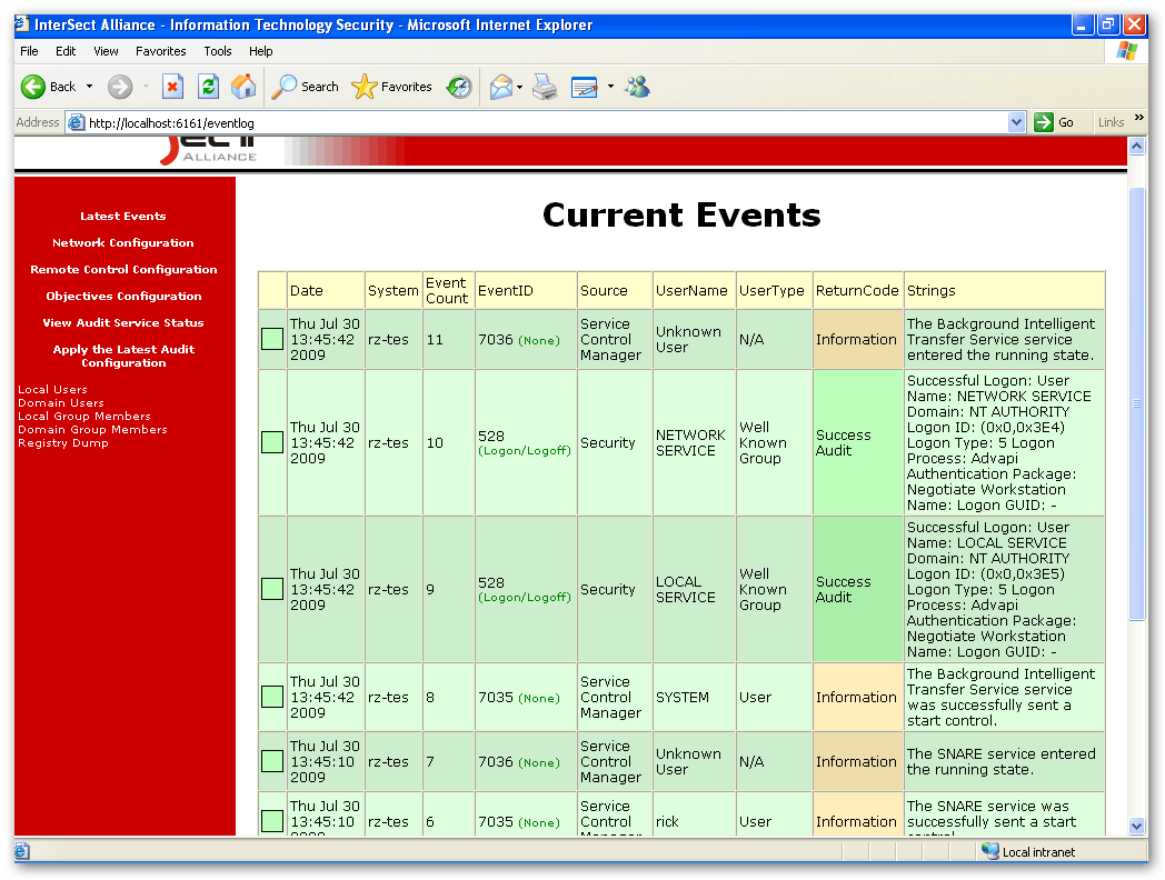 Current events screen