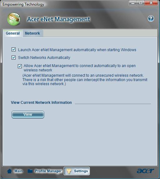 Acer eNet Management Setting General