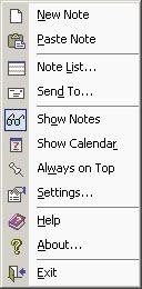 Tray icon menu
