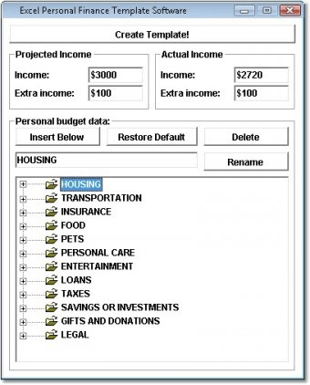 personal finances template