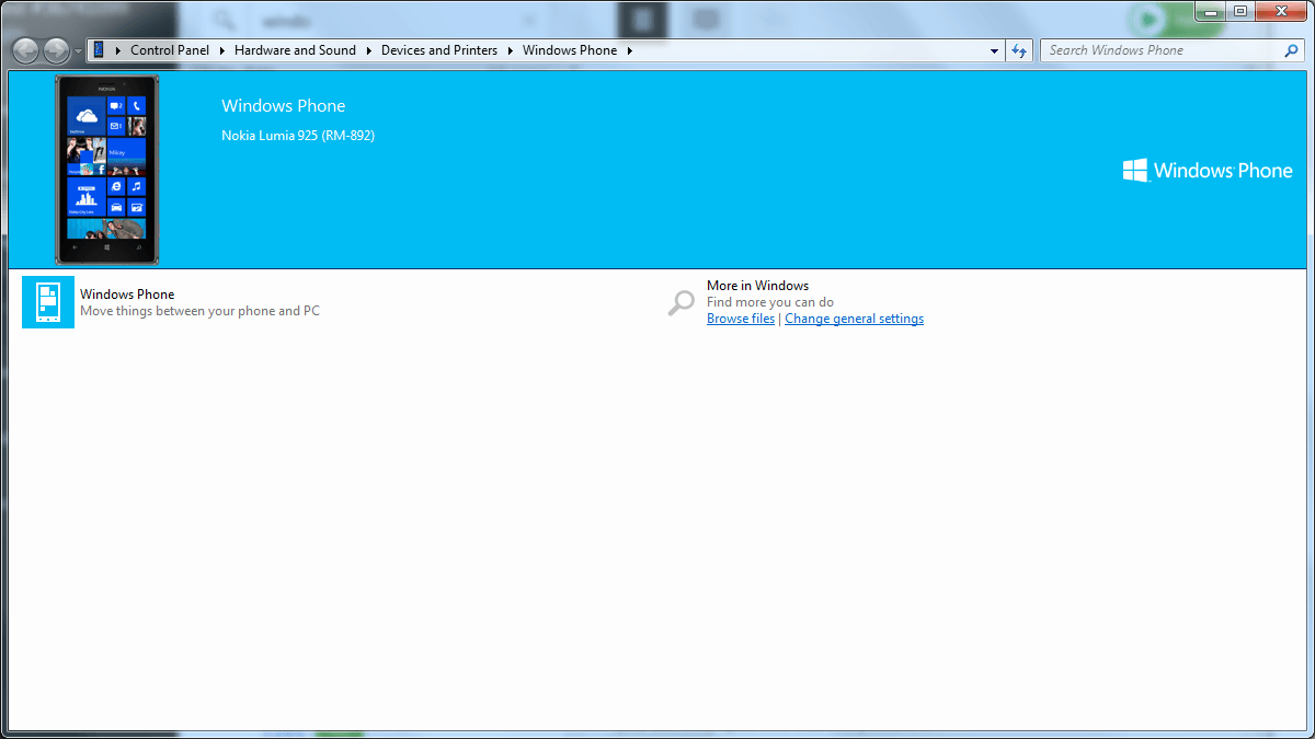Windows Devices and Printers Page