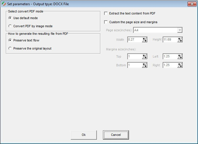 Output Settings for DOCX