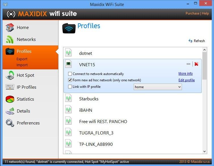 Network Profiles Window