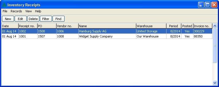 Inventory Receipts Window
