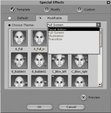 Facial effects options