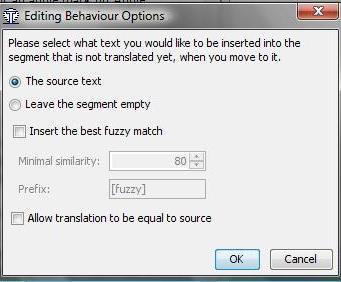 Editing behaviour options