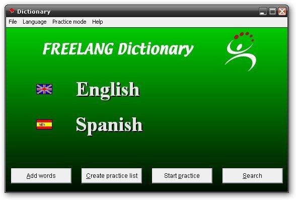 FreeLang Dictionary-Startup screen