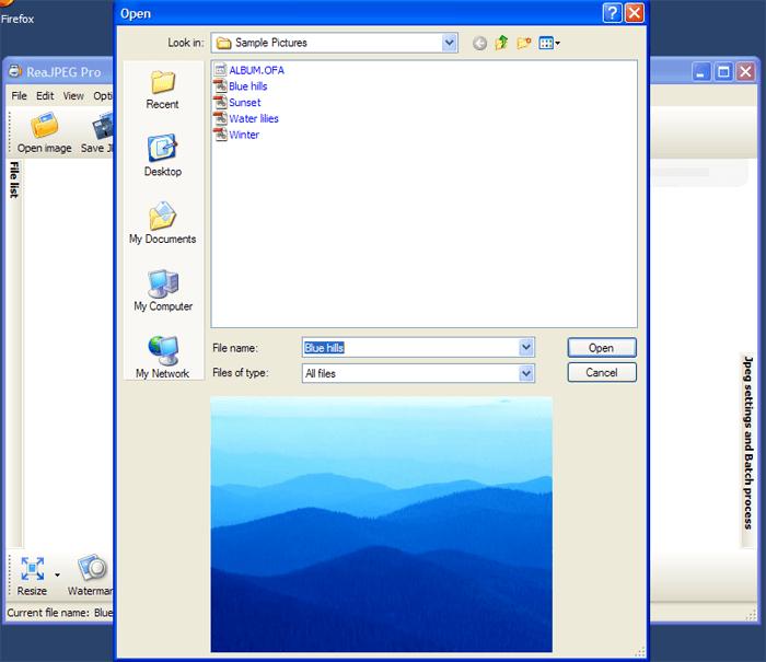 Open image option.