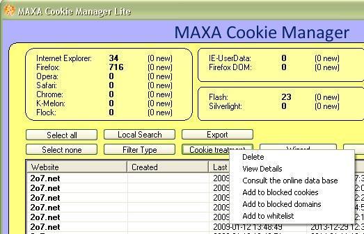Cookie treatment pop up menu