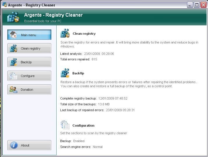 Windows 7 Argente - Registry Cleaner 3.1.2.0 full