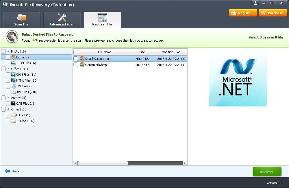 Recovered Files Window