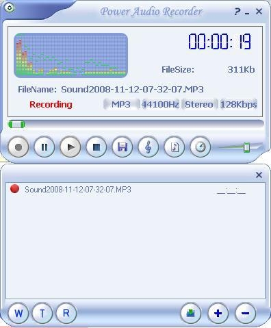 Main interface while recording