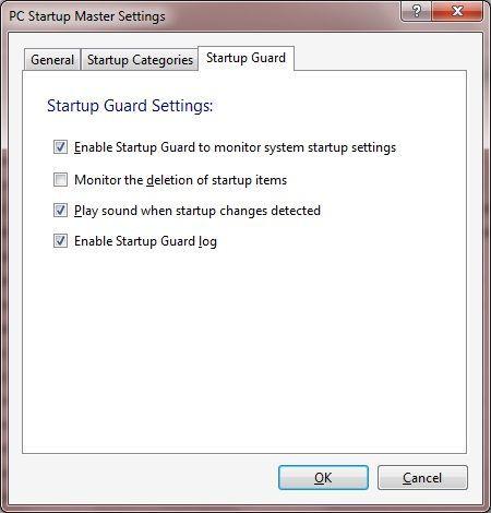 Startup Guard Settings