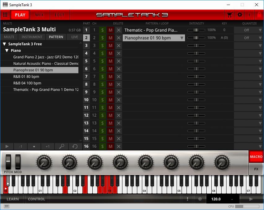 Playing sample