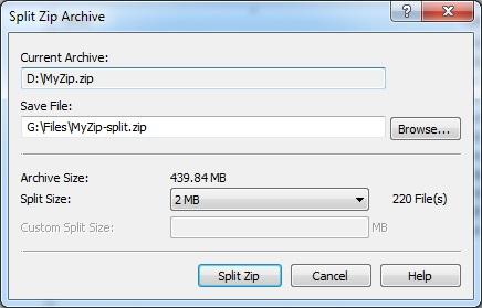 Split ZIP Archive
