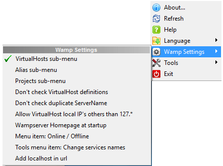 Right-click on the tray icon