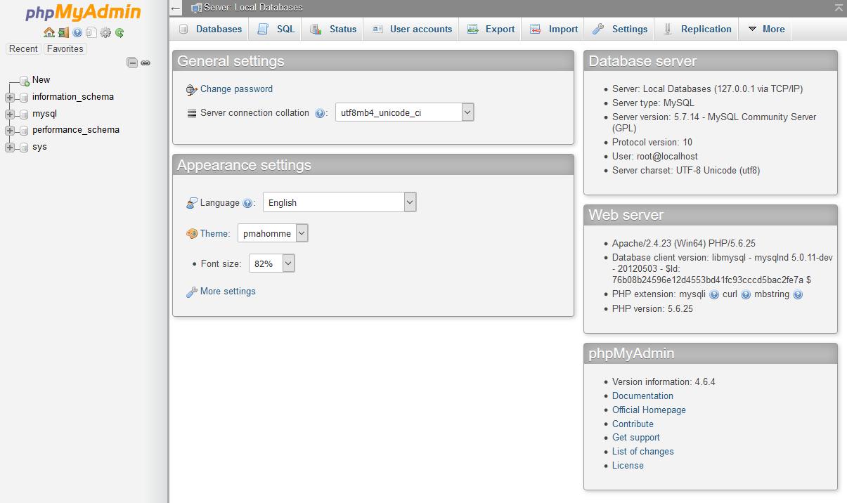 Main interface of phpMyAdmin