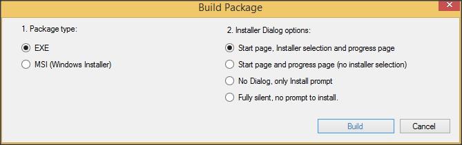 Package Builder Options