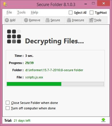 Decrypting folder