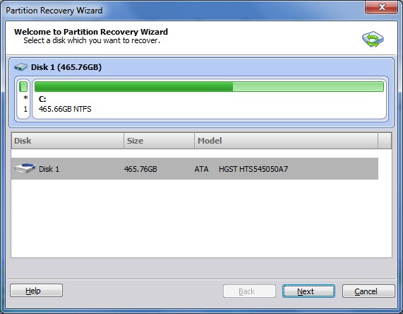 Partition Recovery Wizard