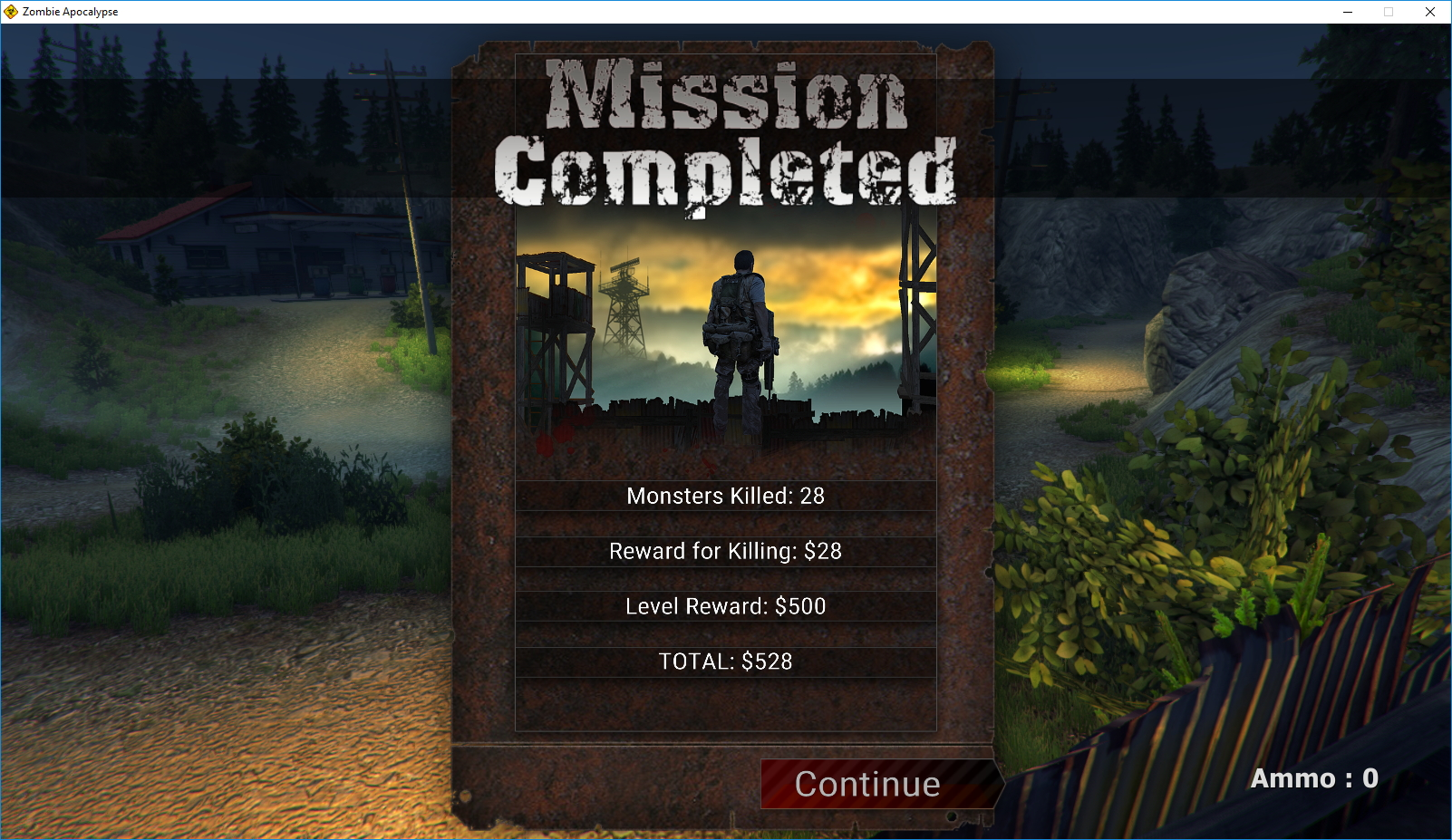 Completed Level Statistics Window