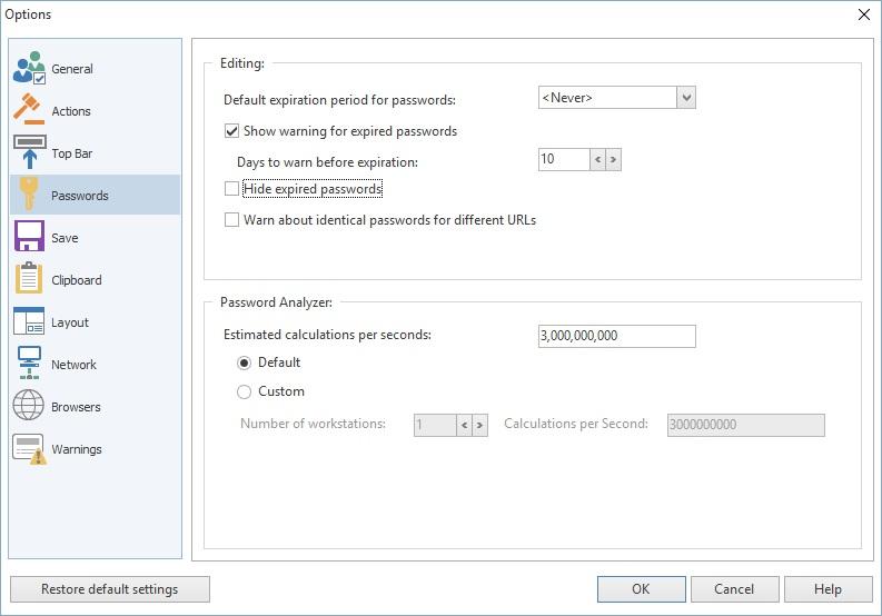 Password Options
