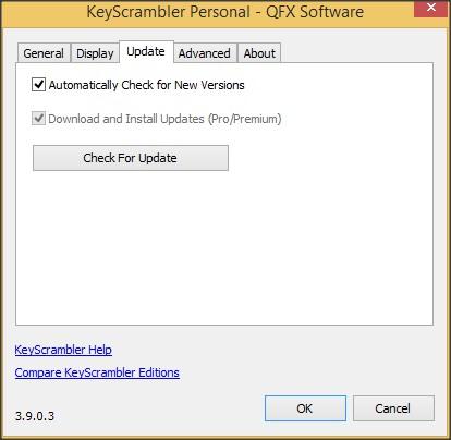 Options Window - Update Tab