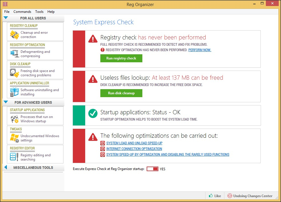 System Express Check Results
