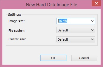 New Hard Disk Image file