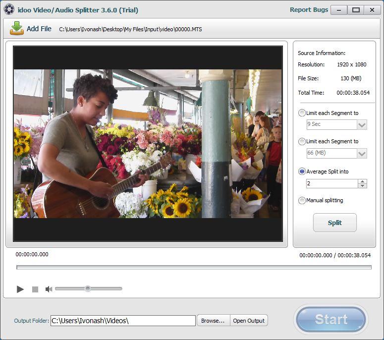 Video/Audio Splitting Tool