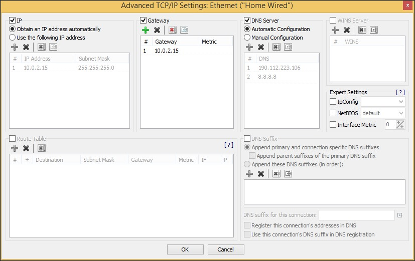 Advanced TCP/IP Settings Window