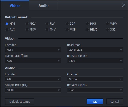 Output Video Settings