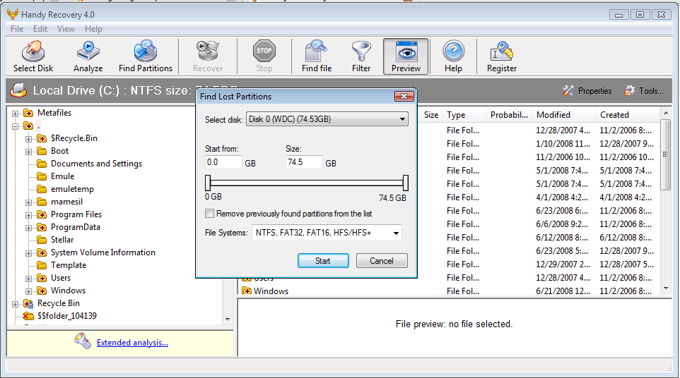 find lost partitions